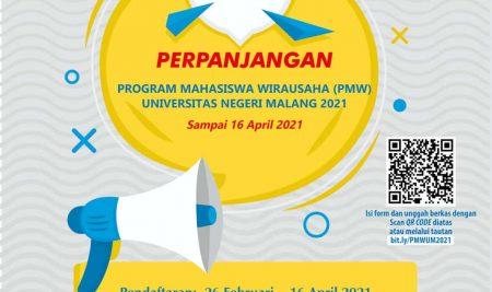 Perpanjangan Program Mahasiswa Wirausaha (PMW) 2021